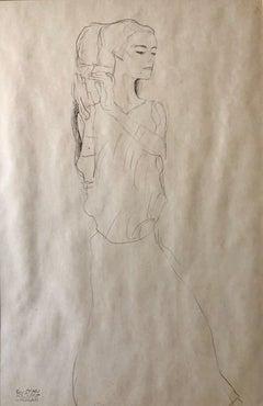 Portrait of a Woman Drawing, Austrian Lithograph Art Nouveau Vienna Secession