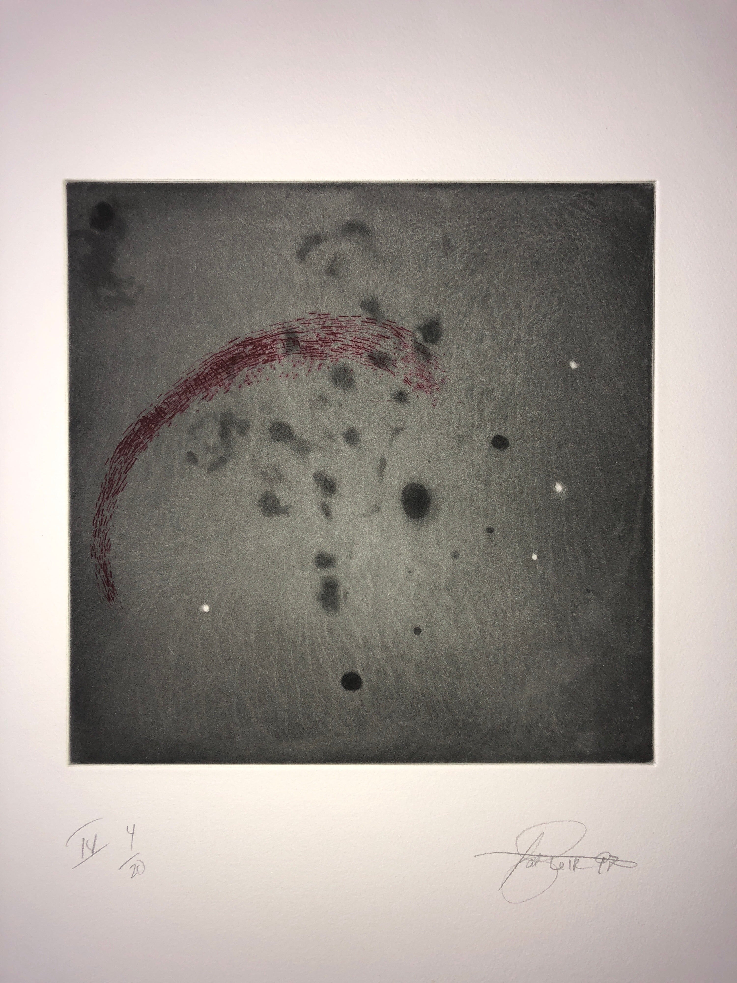 Comet, Outer Space Dark Series Aquatint Etching Color Abstract Expressionist