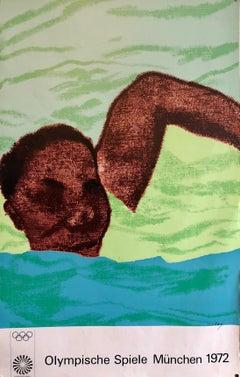 Vintage Poster British Pop Art 1972 Munich Olympic Swimmer R.B. KItaj