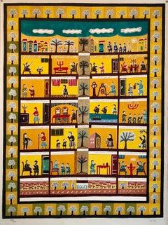 Large Israeli Folk Art Hebrew Naive Judaica Lithograph Shabbat Aishes Chayil Ode