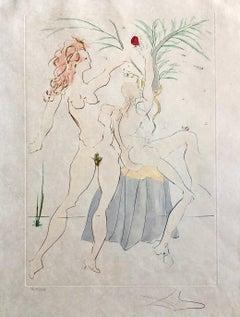 Salvador Dali Pochoir Etching Engraving Adam & Eve Japon Paper Gold Embellished
