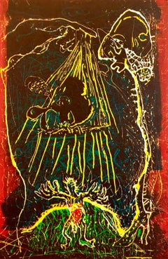 Large Abstract Expressionist Figure Handmade Paper Etching Silkscreen Print