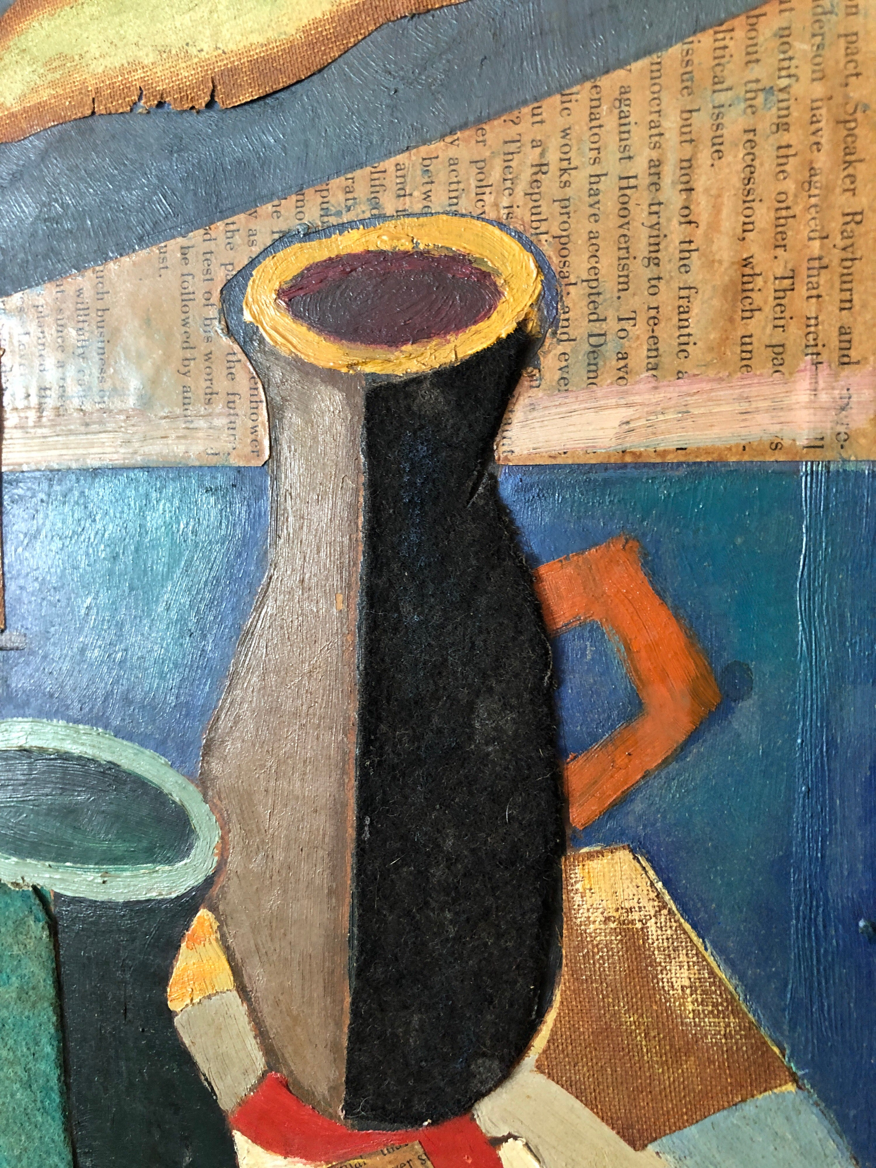 Unknown European Collage Cubist Oil Painting 1960 Surrealist Interior With Vase And Pipe For Sale At 1stdibs