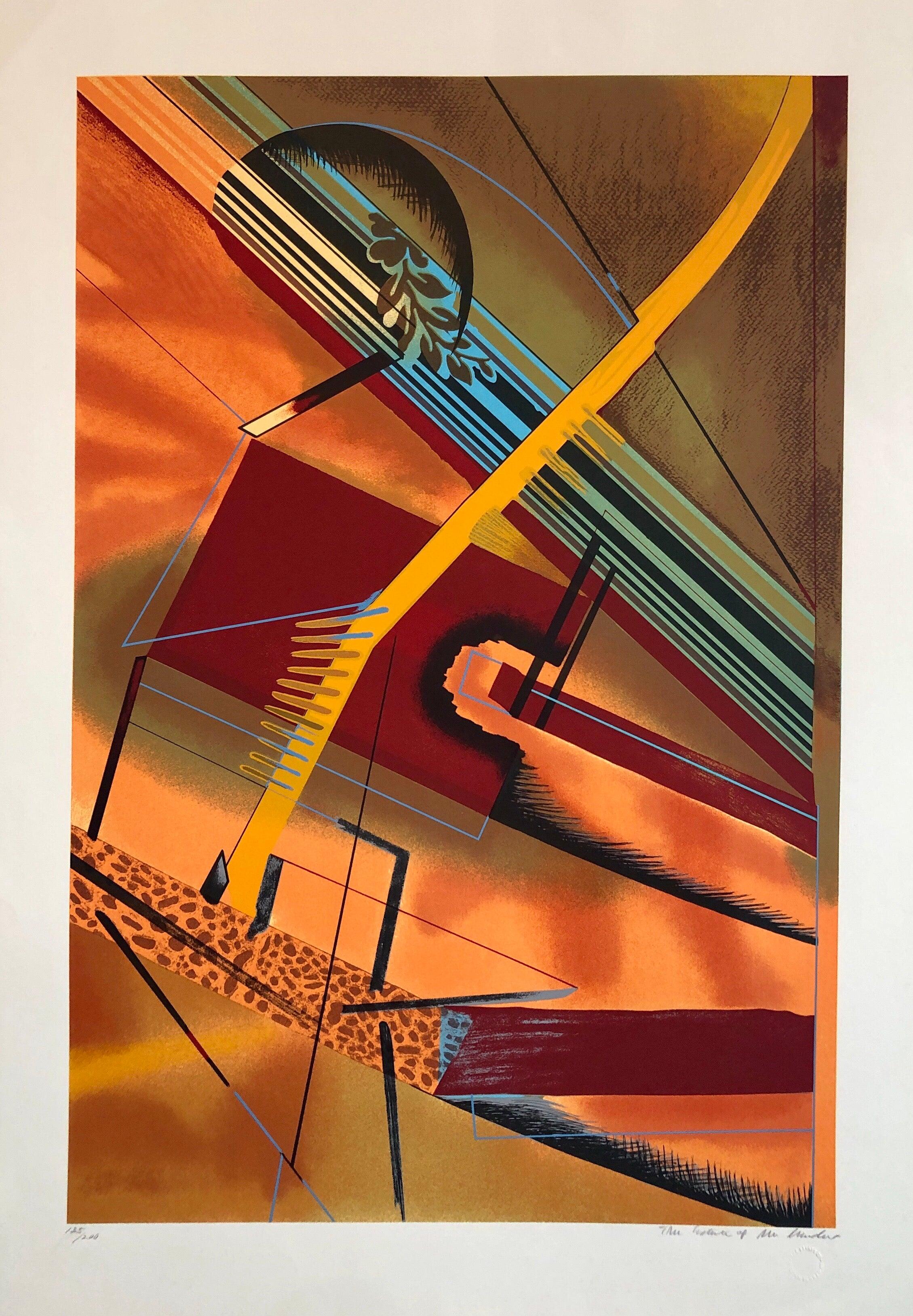 Surrealist Architectural Landscape Silkscreen 1970s Chicago Modernist Lithograph