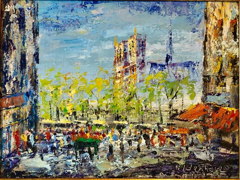 Impressionist Cityscape, Oil Painting Dutch Artist, Paris Landscape Scene For Sale 3