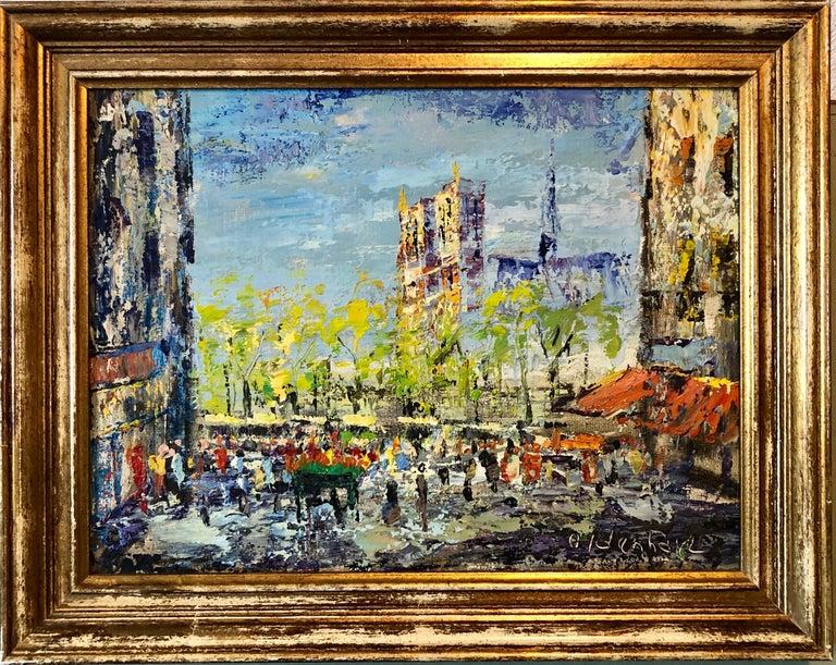 Impressionist Cityscape, Oil Painting Dutch Artist, Paris Landscape Scene For Sale 6