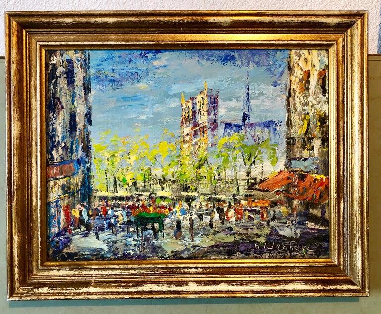 Impressionist Cityscape, Oil Painting Dutch Artist, Paris Landscape Scene For Sale 2