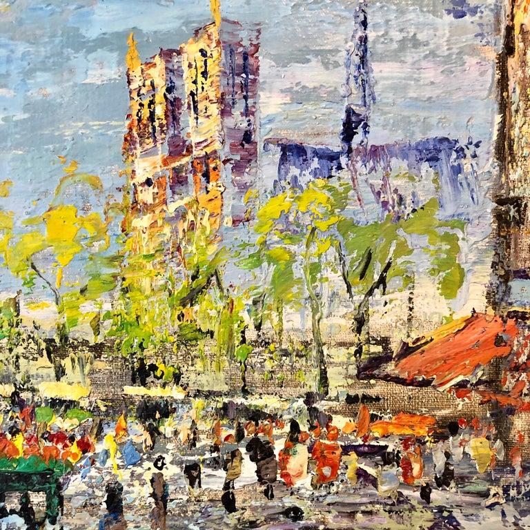 Impressionist Cityscape, Oil Painting Dutch Artist, Paris Landscape Scene For Sale 1