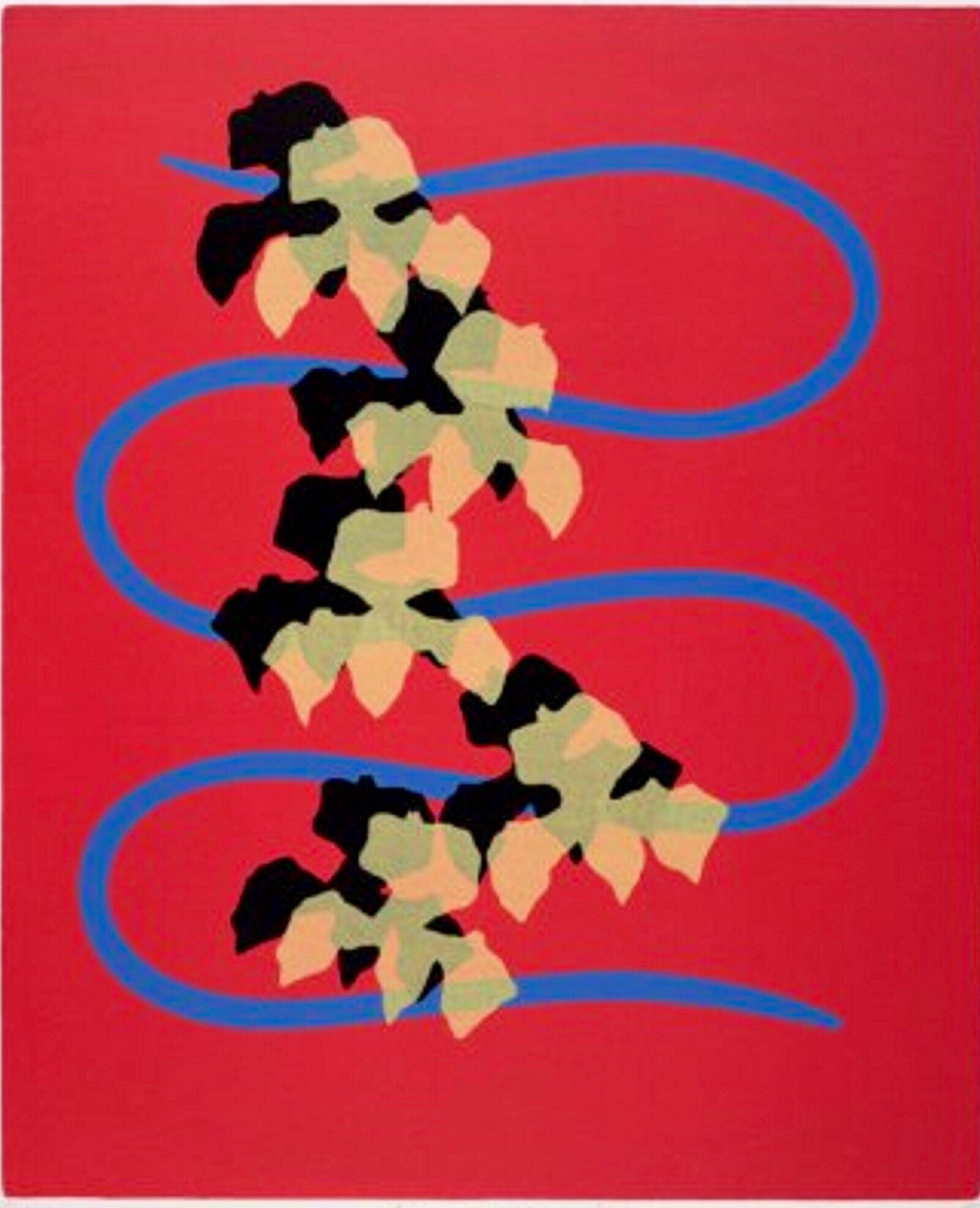 Serpentine with Orchids Modernist Silkscreen Signed Screenprint