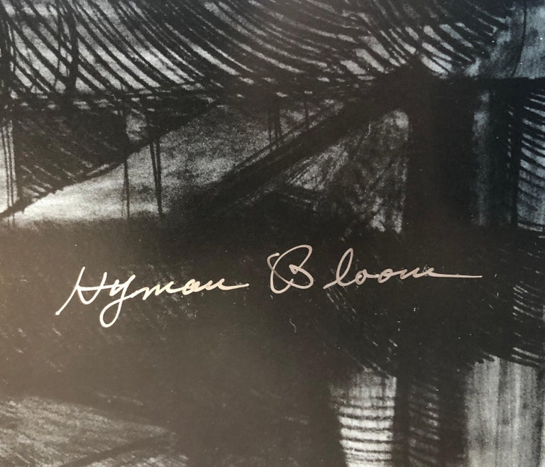 Abstract Expressionist Hyman Bloom Judaica Hand Signed Poster Rabbi with Torah - Black Figurative Print by Hyman Bloom