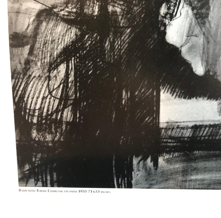 Abstract Expressionist Hyman Bloom Judaica Hand Signed Poster Rabbi with Torah For Sale 1