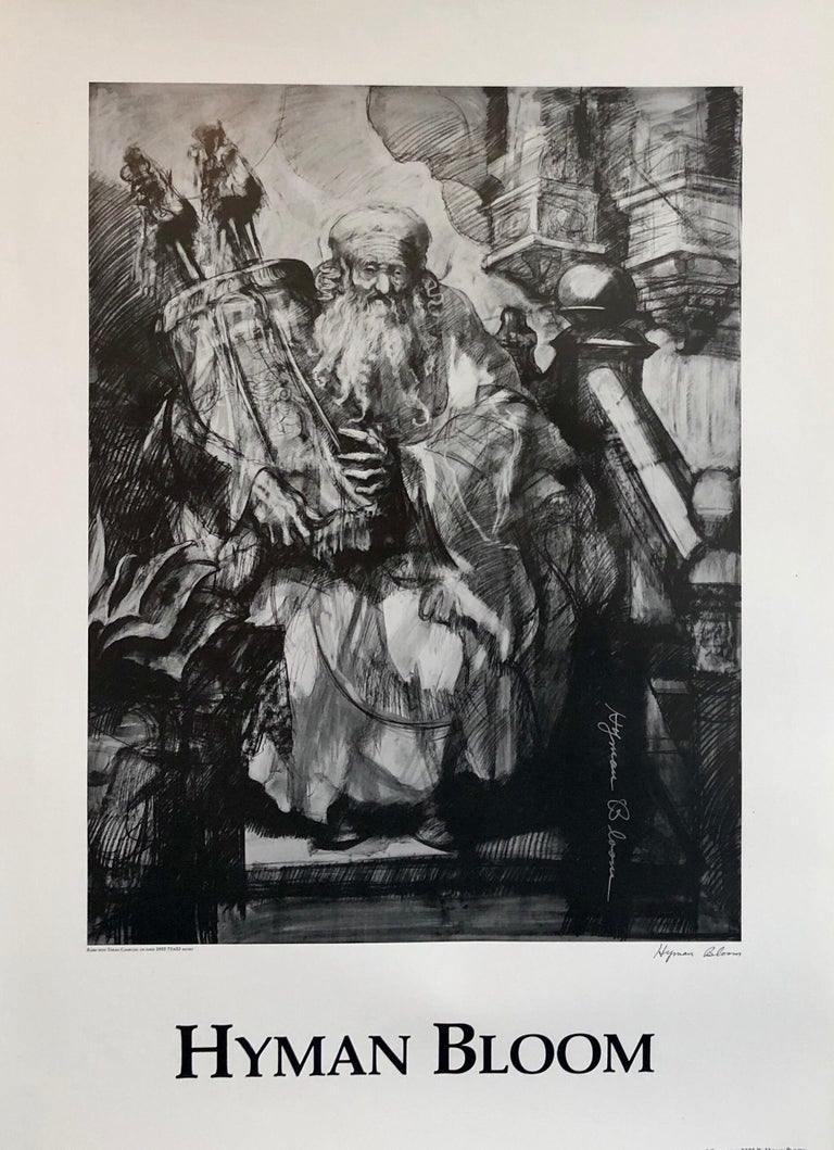 Abstract Expressionist Hyman Bloom Judaica Hand Signed Poster Rabbi with Torah - Print by Hyman Bloom