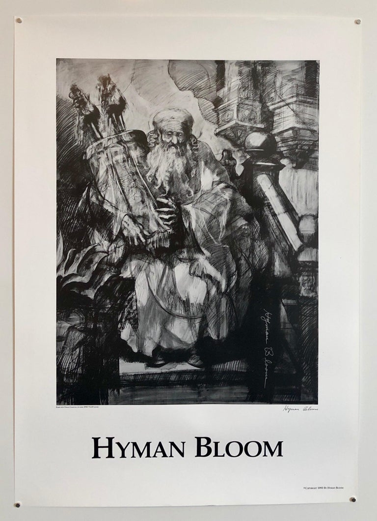 Abstract Expressionist Hyman Bloom Judaica Hand Signed Poster Rabbi with Torah For Sale 4