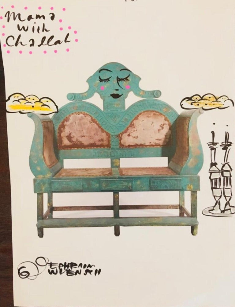 This is a take on an ad featuring an antique judaic carved wood circumcision chair from the community of Hebron is Israel. titled Mama with Challah.  The bold and eclectic work of self taught artist Ephraim Wuensch is part social commentary part