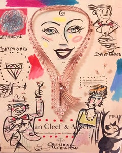 "Mixed Media ""Van Cleef & Arpels meets Dagwood"" Pop Art Drawing NYC Street Art"