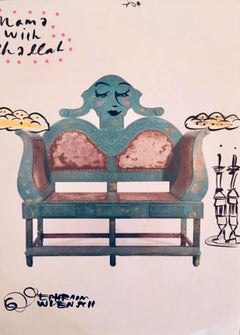 Mixed Media Bris Chair Antique Brith Mila Judaica Pop Art Drawing NYC Street Art