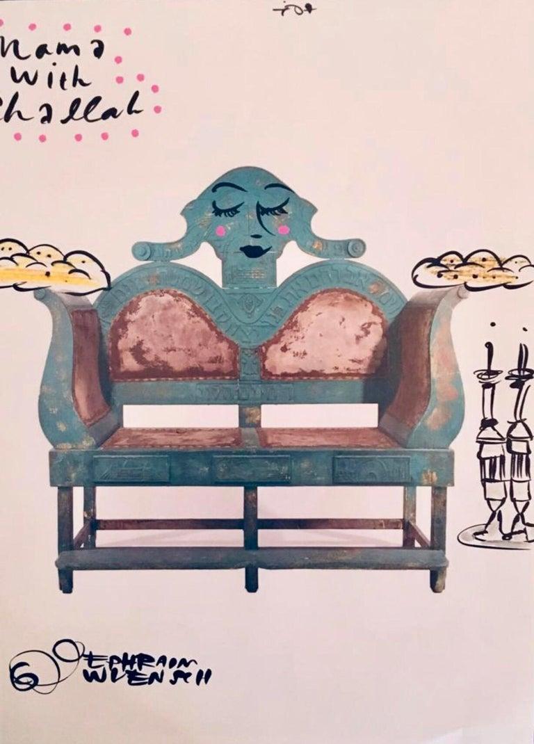 Mixed Media Bris Chair Antique Brith Mila Judaica Pop Art Drawing NYC Street Art - Mixed Media Art by Ephraim Wuensch