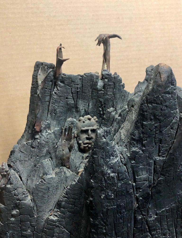Holocaust Memorial Polish Sculpture Burnt Wood Metal Judaica Jewish Memorial Art For Sale 6