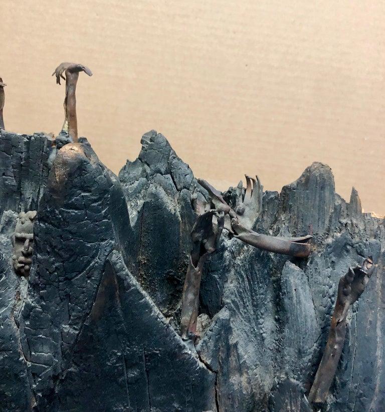 Holocaust Memorial Polish Sculpture Burnt Wood Metal Judaica Jewish Memorial Art For Sale 7