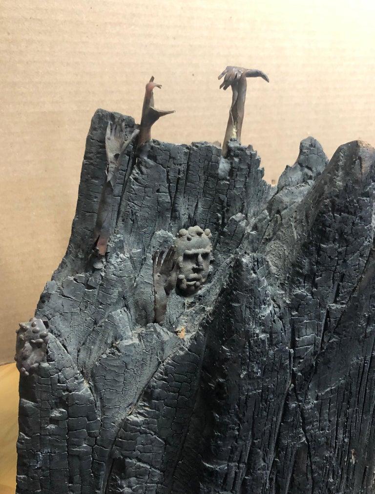 Holocaust Memorial Polish Sculpture Burnt Wood Metal Judaica Jewish Memorial Art For Sale 8