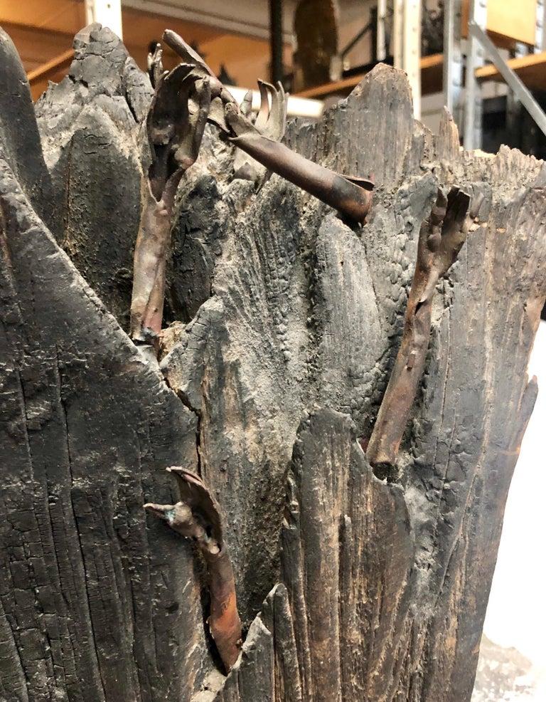 Holocaust Memorial Polish Sculpture Burnt Wood Metal Judaica Jewish Memorial Art For Sale 9