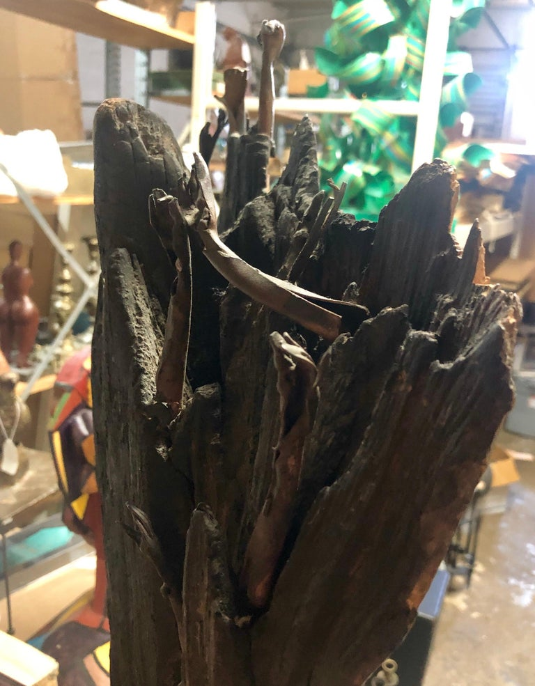 Holocaust Memorial Polish Sculpture Burnt Wood Metal Judaica Jewish Memorial Art For Sale 10