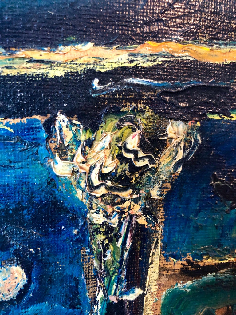 Yesterday's, Surrealist Horse Rider, Architectural Ruins Modernist Oil Painting For Sale 3
