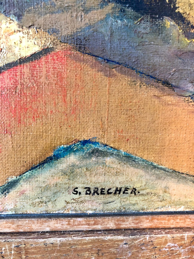 Yesterday's, Surrealist Horse Rider, Architectural Ruins Modernist Oil Painting For Sale 4