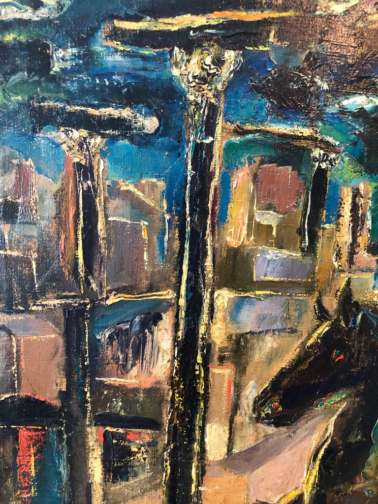 Yesterday's, Surrealist Horse Rider, Architectural Ruins Modernist Oil Painting For Sale 5