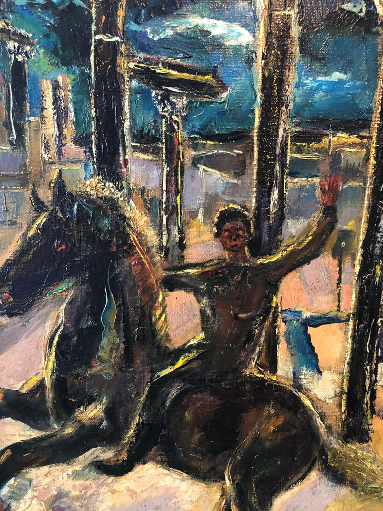 Yesterday's, Surrealist Horse Rider, Architectural Ruins Modernist Oil Painting For Sale 6