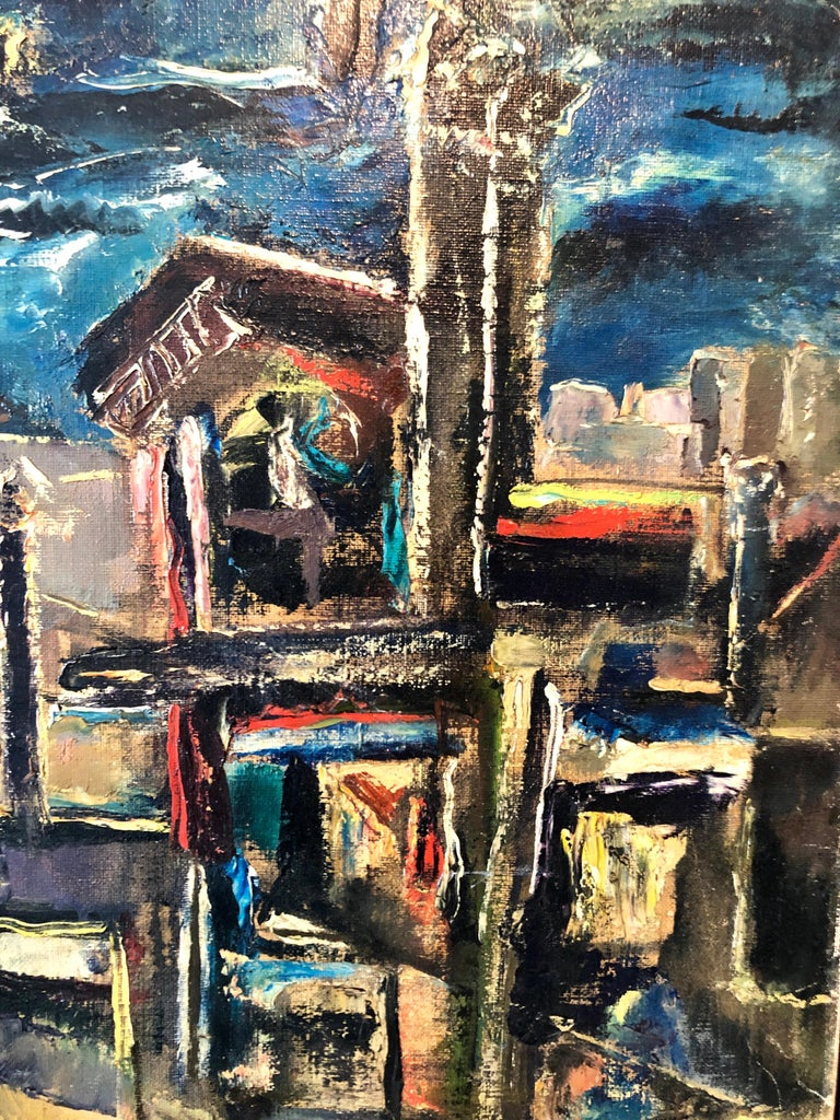 Yesterday's, Surrealist Horse Rider, Architectural Ruins Modernist Oil Painting For Sale 7