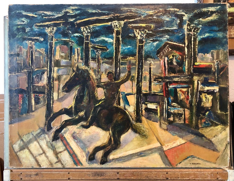 Yesterday's, Surrealist Horse Rider, Architectural Ruins Modernist Oil Painting For Sale 8