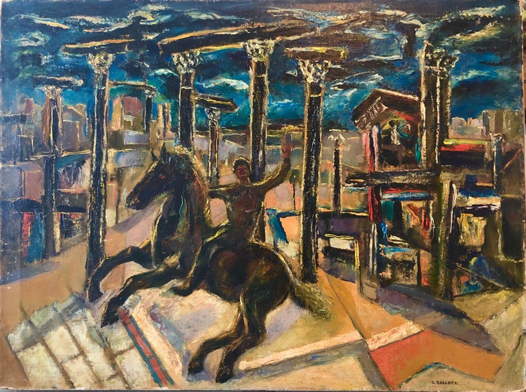Yesterday's, Surrealist Horse Rider, Architectural Ruins Modernist Oil Painting For Sale 9