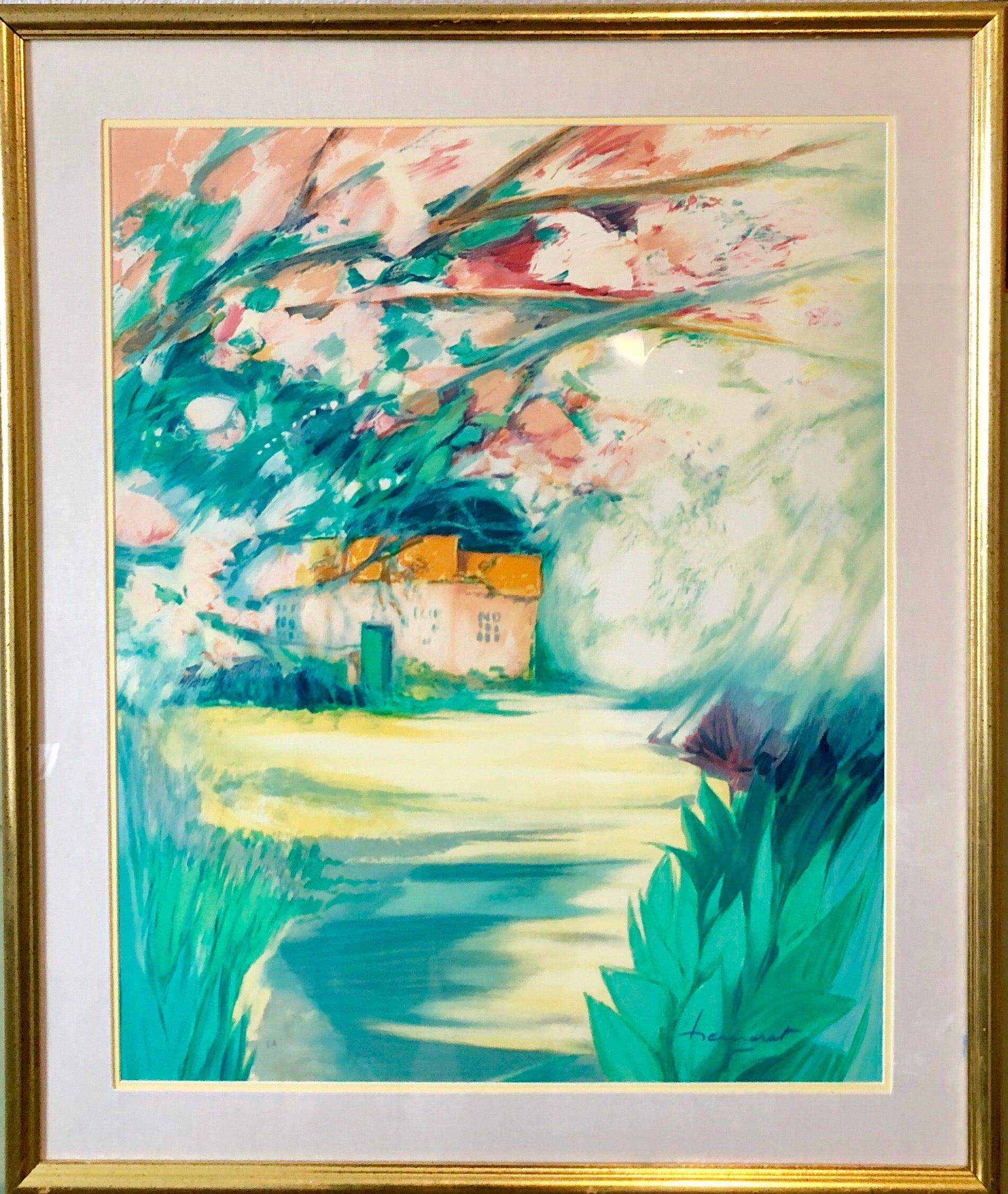French Modernist Vivid Bright Fauvist Landscape Watercolor Gouache Painting