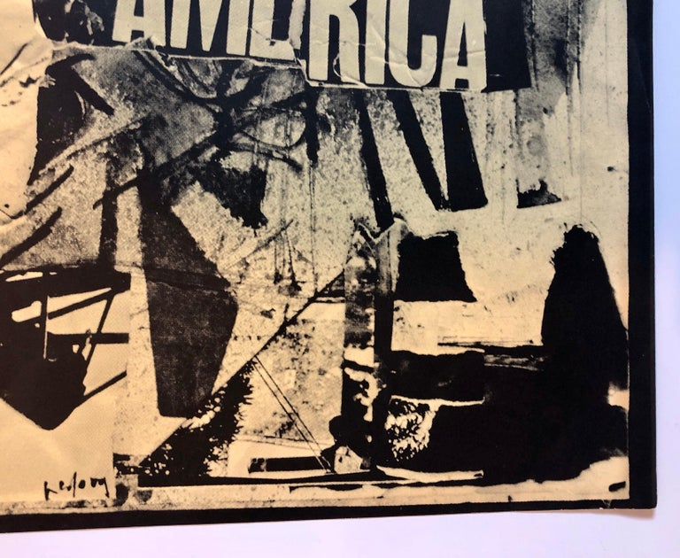 Italian Abstract Collage 'No a Questa America' Large Screenprint Hand Signed For Sale 1