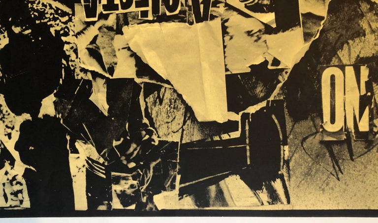 Italian Abstract Collage 'No a Questa America' Large Screenprint Hand Signed For Sale 3