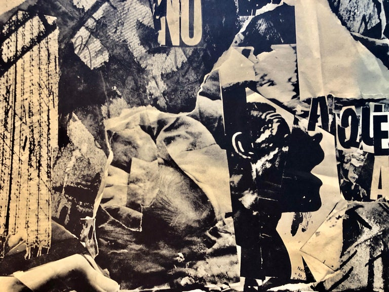 Italian Abstract Collage 'No a Questa America' Large Screenprint Hand Signed For Sale 4