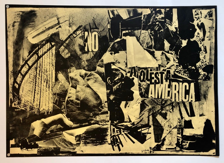 Italian Abstract Collage 'No a Questa America' Large Screenprint Hand Signed For Sale 5