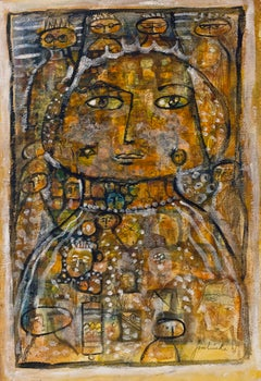 Mixed Media Drawing and Painting Abstract Mod Colorful Faces Jewish Woman Artist