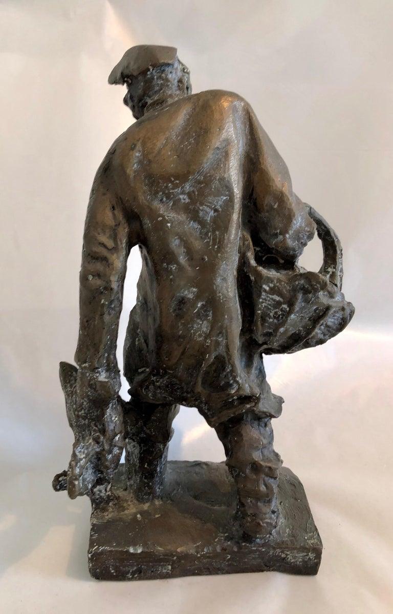 Bronze Judaica Expressionist Sculpture Russian Jewish Shtetl Goose Peddler For Sale 5