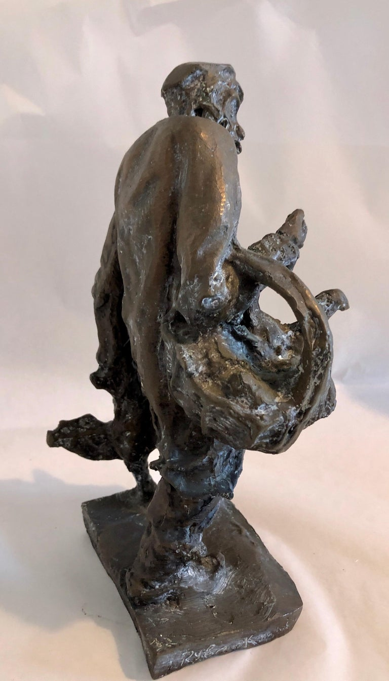 Bronze Judaica Expressionist Sculpture Russian Jewish Shtetl Goose Peddler For Sale 9