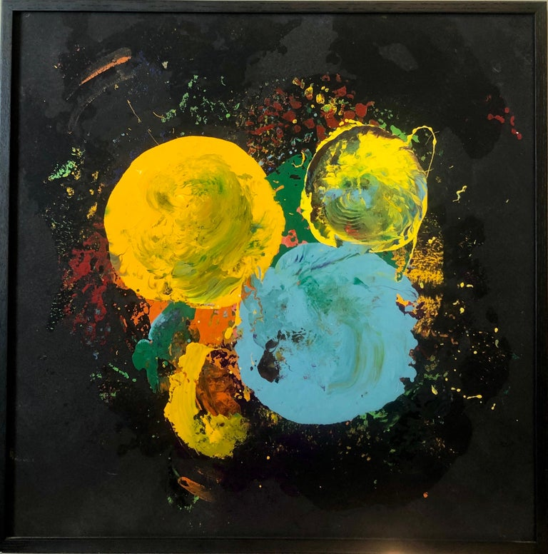 This vibrant colorful painting is fully hand signed, dated and titled verso.  It might be acrylic but it looks like oil or enamel ad I have seen it described thusly.  This listing is for 1 painting. the last image shows all 4 that I have hung as