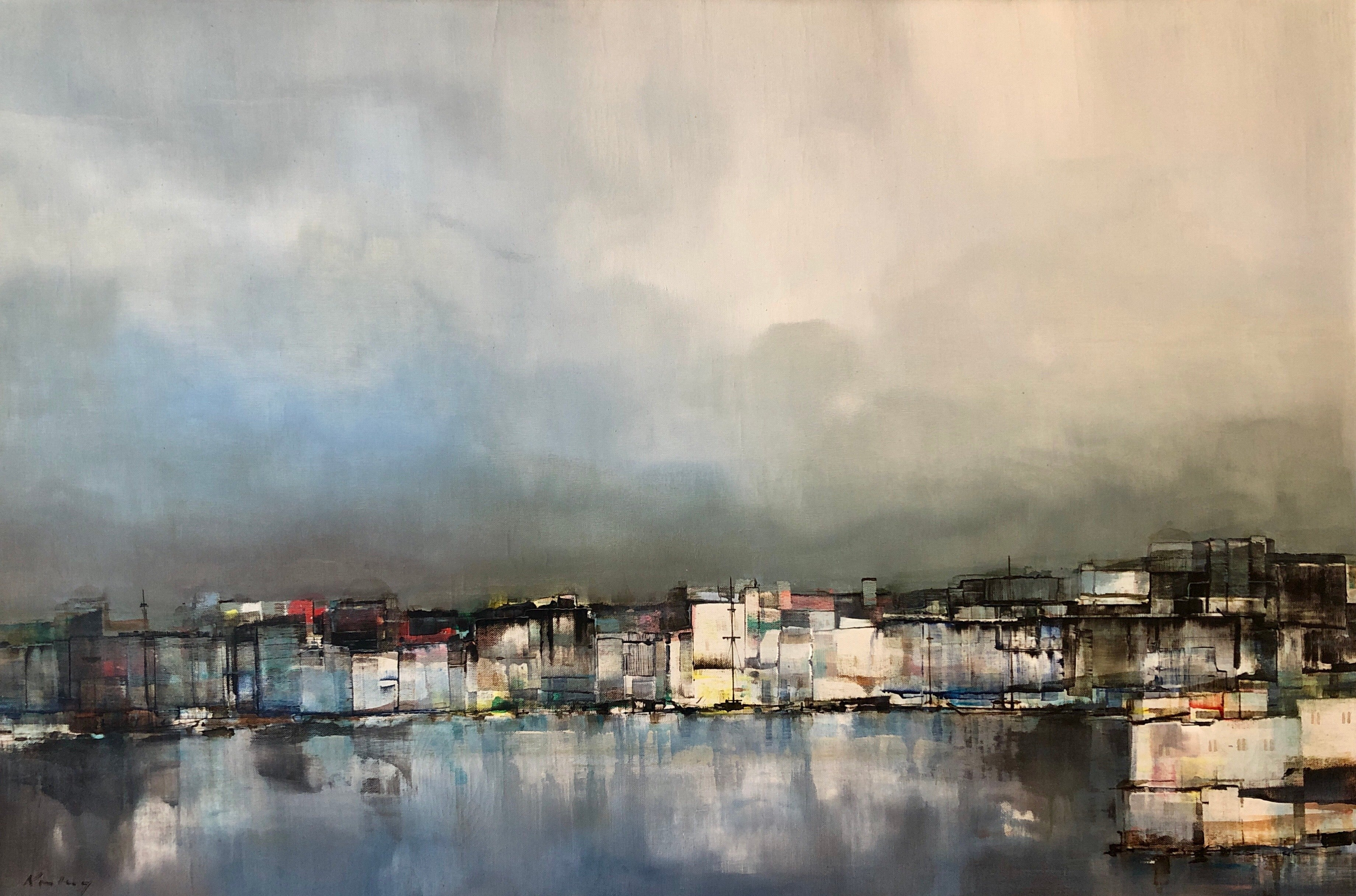 Modernist Colorado Oil Painting Abstract Cityscape Harbor Scene Pawel Kontny