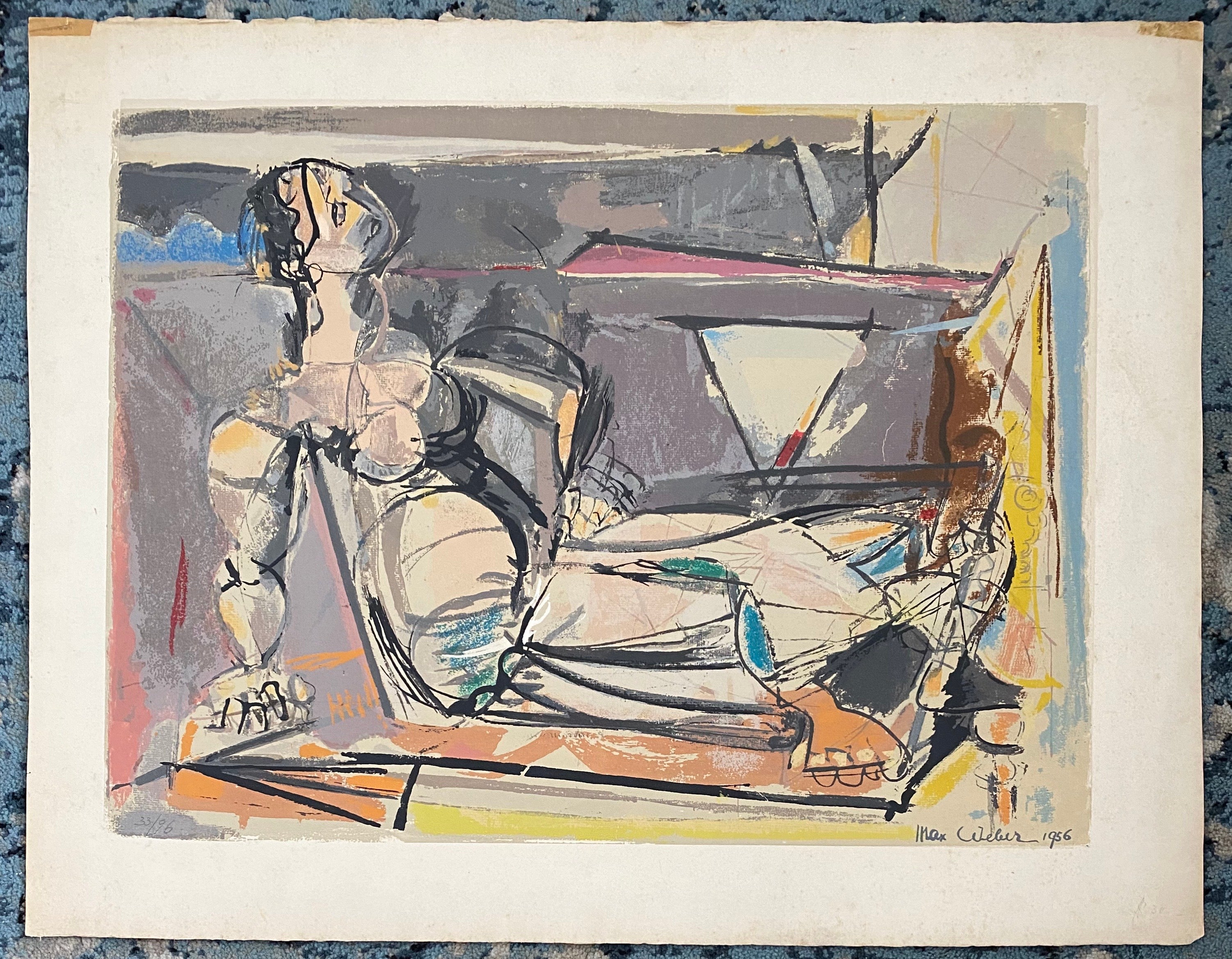 "American Modernist Cubist Color Screenprint - ""Reclining Woman"" Max Weber"