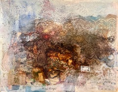 French Collage Assemblage Painting Lace and Music Notes Abstract Composition