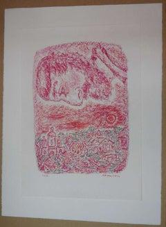 Pastel on paper Shtetl Scene