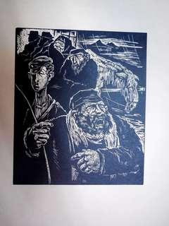 Shtetl Scene Woodcut