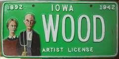Grant Wood Artist License Plate Pop Art