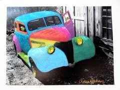 """Fantasy Sedan I"" Hand painted B/W photograph"