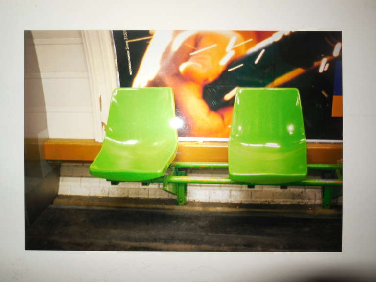Nicoletta Munroe Color Photograph - Odeon, Green 2 Chairs, Paris Metro Series